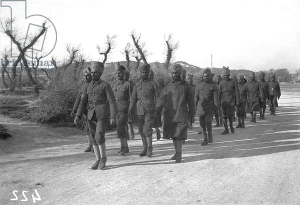 Indian troops at Marseille, c.1915 (b/w photo)