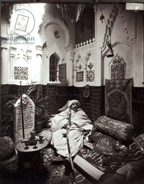 Pierre Loti (1850-1923) in the mosque in his house, Rochefort (b/w photo)