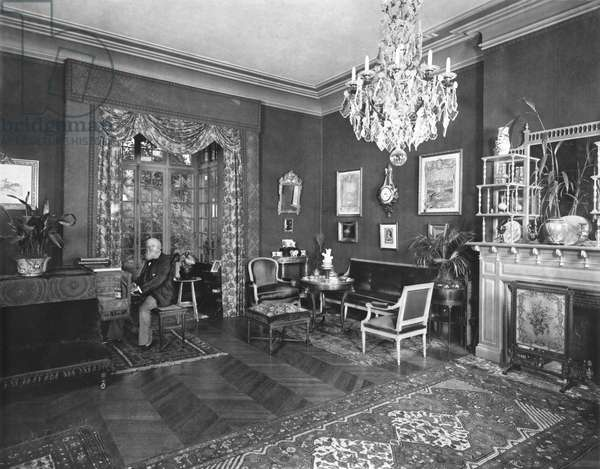 Charles-Francois Gounod (1818-93) at home in Saint-Cloud, late 19th century (b/w photo)