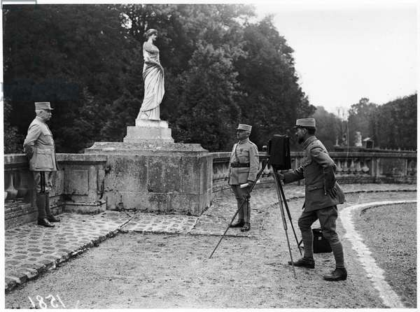 General Petain (1856-1951) being photographed at Chateau de Compiegne, 1918 (b/w photo)