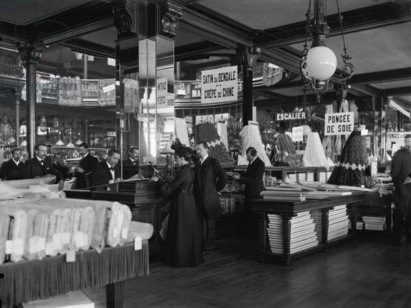 The fabric department of Le Bon Marche stores, Paris, c.1900 (b/w photo)