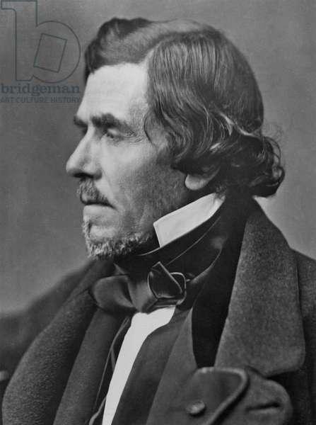 French painter Eugène Delacroix in profile (b/w photo)