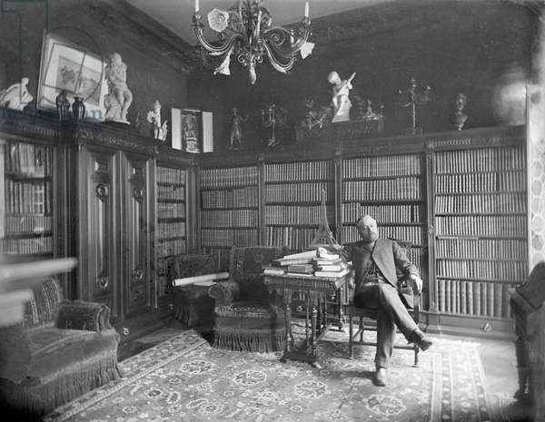 Alexandre Gustave Eiffel in his library (b/w photo)