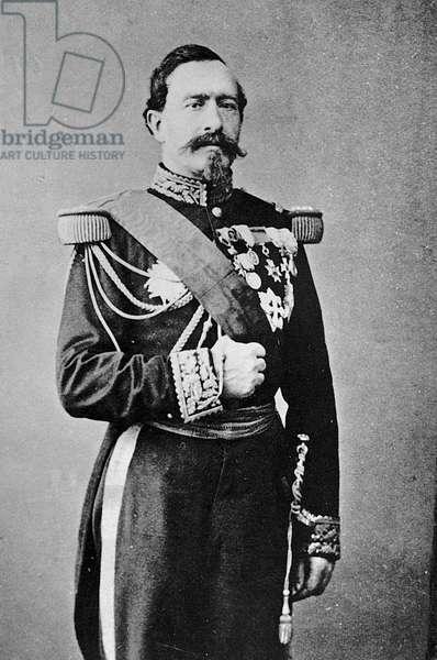 Portrait of Charles-Denis Sauter Bourbaki, French General, c.1855 (b/w photo)