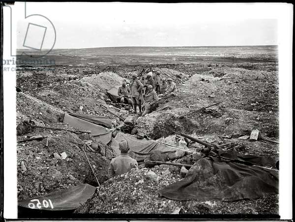 A former German trench occupied by French troops at Verdun, 1916 (b/w photo)