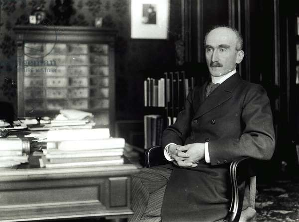 Henri Bergson (1859-1941) in his office (b/w photo)