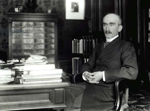 Henri Bergson (1859-1941) in his office (b/w photo)