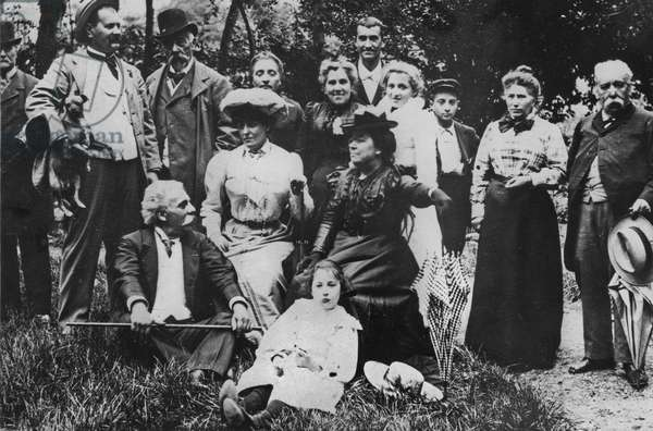 """Gabriel Faure (1845-1924), with his family at Usat-les-Bains after the debut of """"Prometheus"""" in 1900 (b/w photo)"""