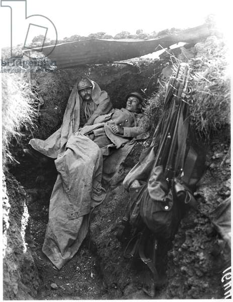 Trenches occupied by French soldiers at Verdun, Cote 304, c.1917 (b/w photo)