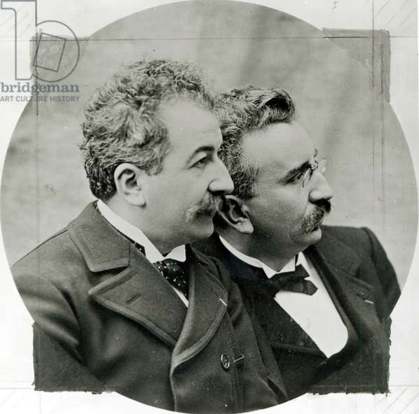 Portrait of Auguste (1862-1954) and Louis Lumiere (1864-1948) c.1920 (b/w photo)