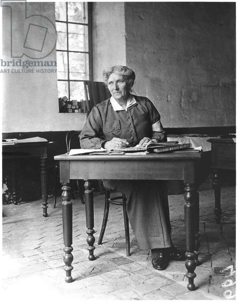 Mrs Harley (d.1917) at the Abbey of Royaumont, 1915 (b/w photo)