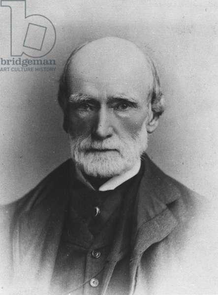 Portrait of Edward-Augustus Bond, director of the British Museum (b/w photo)