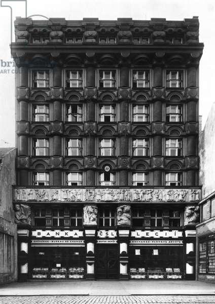 Facade of the Czechoslovak Legions Bank, Prague, c.1926 (b/w photo) (see also 233059)