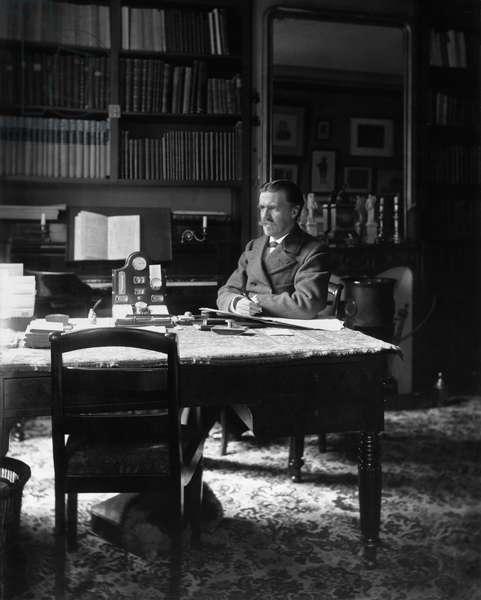 Vincent d'Indy (1851-1931) at his desk (b/w photo)