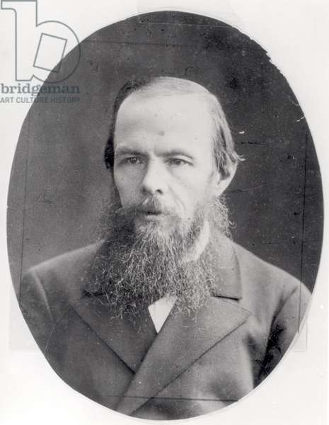 Portrait of Fyodor Mikhaylovich Dostoievsky (1821-81) (b/w photo)