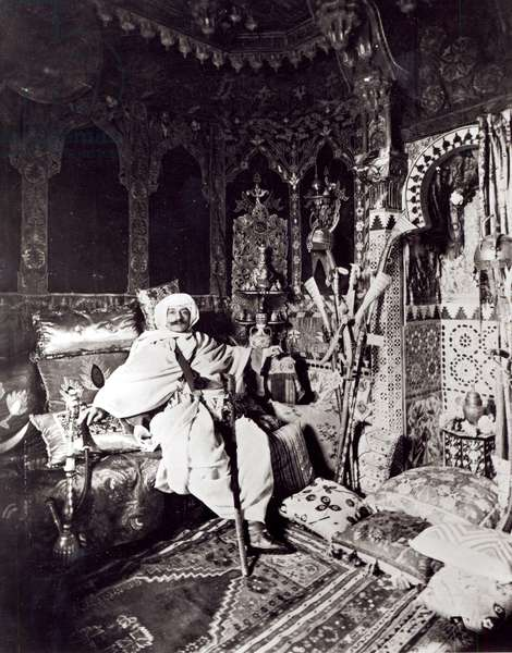 Pierre Loti (1850-1923) in the Arab room in his house, Rochefort (b/w photo)