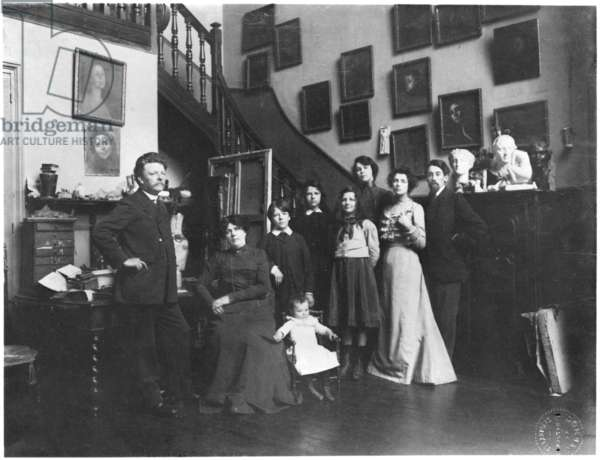 Portrait of Eugene Carriere and his family (b/w photo)