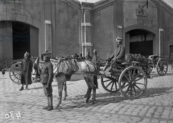 Soldiers of the Indian army driving supply wagons, c.1915 (b/w photo)