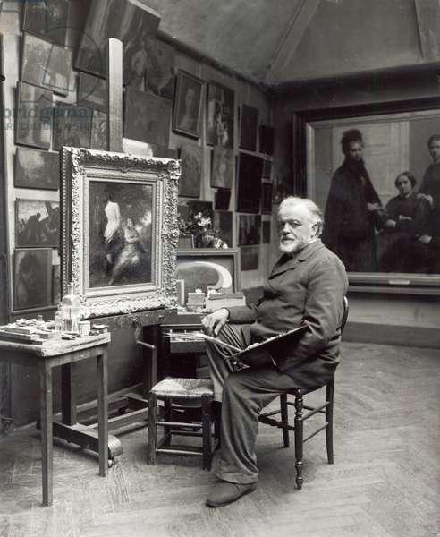 Portrait of Henri Fantin-Latour (1836-1904) in his studio (b/w photo)