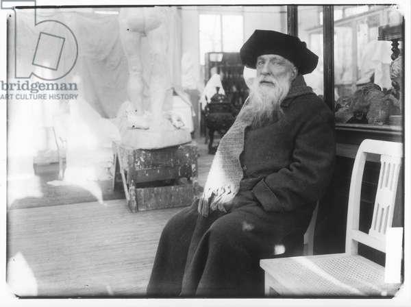 Auguste Rodin (1840-1917) in his house 'Les Brillants' in Meudon (b/w photo)