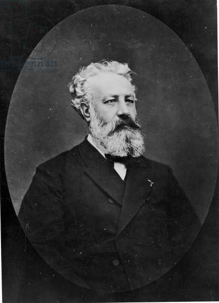 Portrait of Jules Verne (1828-1905) (b/w photo)