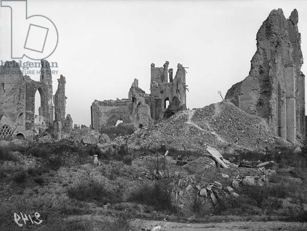 Ruins of the cathedral, Ypres, Belgium, 1917 (b/w photo)