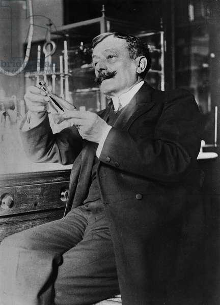 Portrait of Albert Dastre in his laboratory (b/w photo)