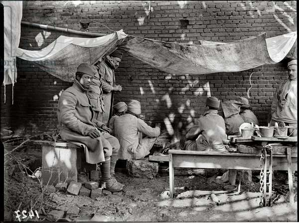 Moroccan soldiers under a bivouac, 1917 (b/w photo)