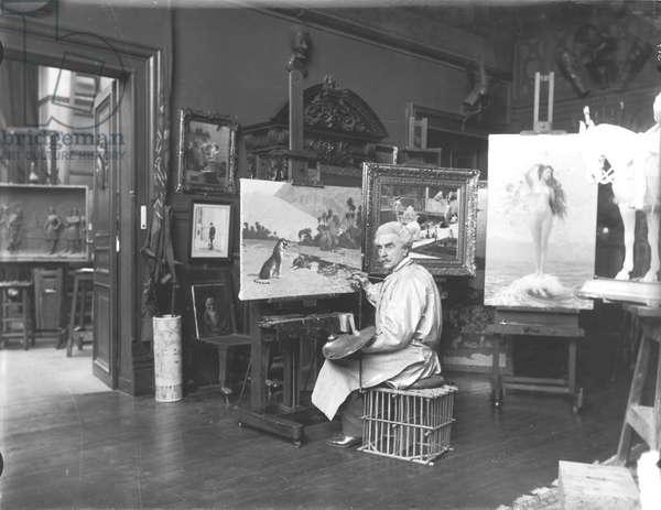 Portrait of Jean Leon Gerome (1824-1904) in his studio (b/w photo)