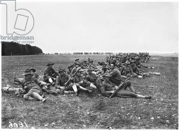 American soldiers resting, 1917-18 (b/w photo)