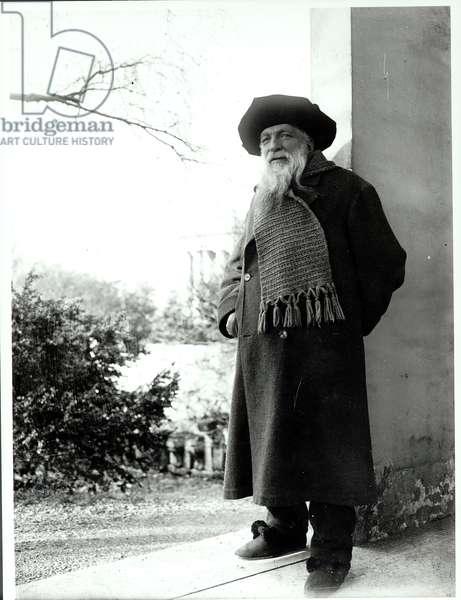 Auguste Rodin (1840-1917) in the garden of his house 'Les Brillants' in Meudon (b/w photo)