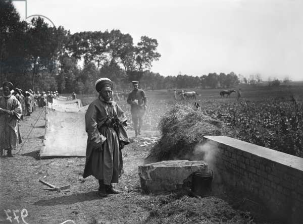 Camp of Spahis, Senlis, 1916 (b/w photo)