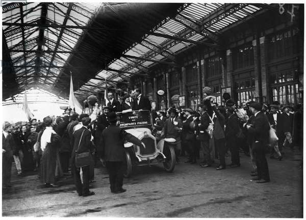 The Arrival of the Garibaldi Brothers at Gare de Lyon, Paris, 1914 (b/w photo)