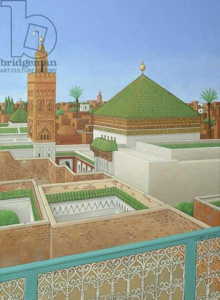 Rooftops, Marrakech (acrylic on linen)