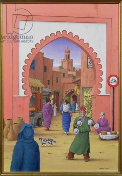 Street Scene in Marrakesh, 1992 (acrylic on linen)