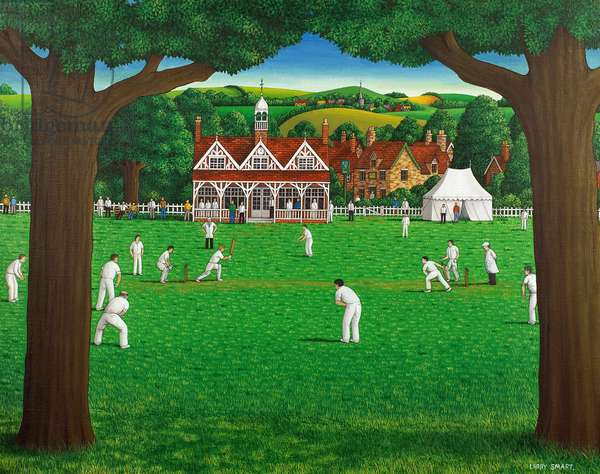 The Cricket Match, 1987 (acrylic on linen)