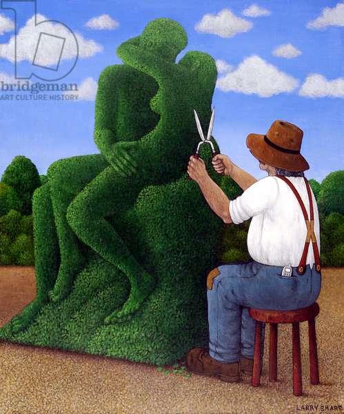 Topiary Kiss (acrylic on linen)