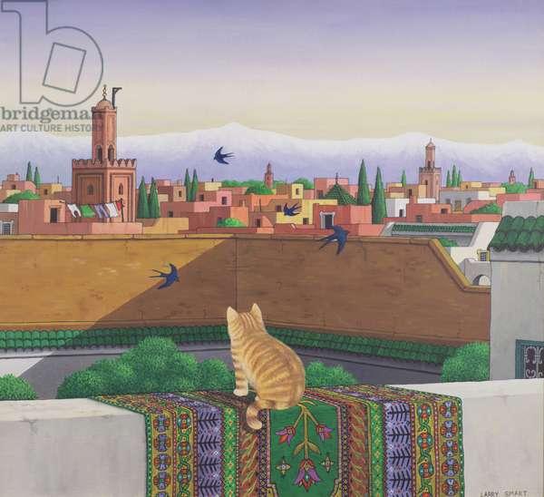 Rooftops in Marrakesh, 1989 (acrylic on linen)