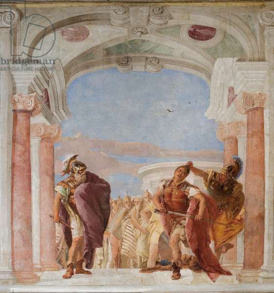 Minerva Restraining Achilles from Killing Agamemnon, from the Room of the Iliad in the Palazzina, 1757 (fresco)