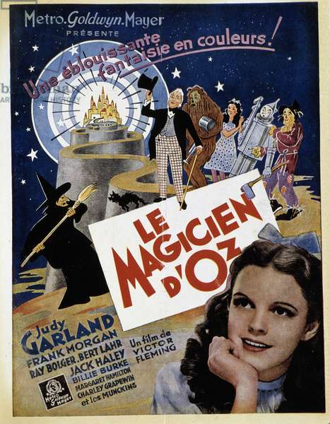 """Poster of the """"Wizard of Oz"""" by Victor Fleming with Judy Garland, """"La Cinématographie francaise"""""""", 15/3/1946."""