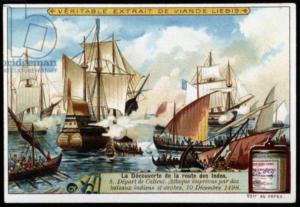 The discovery of the route of the Indes: Departure from Calicut from Vasco de Gama and unexpected attack by Indian and Arab boats, December 10, 1498 - advertising sticker Liébig