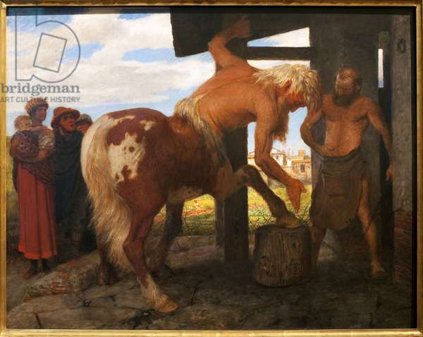 Centaur at the village blacksmith. Painting by Arnold Bocklin (1829-1901), Oil On Canvas, 1888. Swiss art, 19th century, symbolism. Museum of Fine Arts Budapest (Hungary).