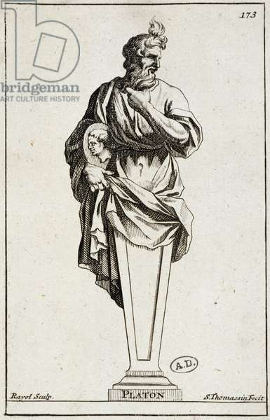 Engraving of a statue of Plato, 17th century.