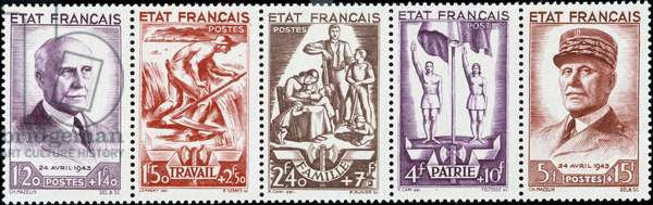 """French stamps """""""" Work, Family, Homeland"""""""" with the effigy of Marshal Pétain and the National Revolution, 1943"""