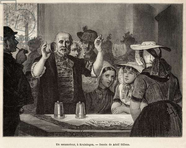 """A retractor, in an inn in Kruiningen, makes his number in front of attentive spectators, engraved after the drawing by Adolf Dillens, illustrating a journey to Zelande (Neerlande), in 1873, by Charles de Coster, published in """"Le tour du monde"""" 1874, edited by Edouard Charton, Hachette edition, Paris. Selva Collection."""