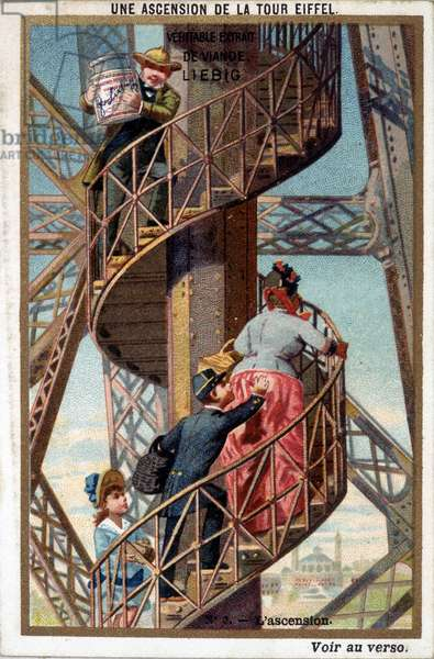 An ascent of the Eiffel Tower: by the staircase - chromo. Liébig, deb. 20th century