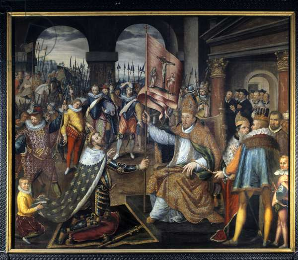 Abjuration of Henry IV (1553 - 1610) in 1572 - anonymous painting of the 16th century, Cathedral of Tournai