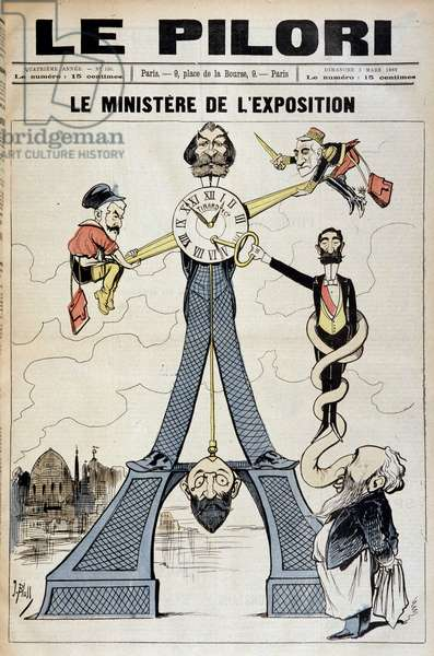 """The Minister of Exhibition (cartoon on financial scandals at the end of the 19th century and the Eiffel Tower). Illustration by J. Blass' (Albert Douat dit) (1847-1892). Cover of """""""" Le Pilori"""""""" of March 3, 1889"""