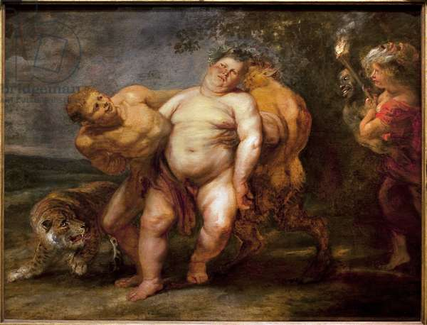 Silene drunk. Painting of the entourage of Pierre Paul Rubens (1577-1640), oil on wood, mid-17th century. Museum of Fine Arts in Angers.