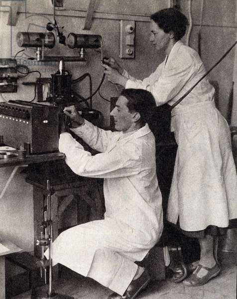 "Irene and Frederic Joliot Curie in 1934 after the discovery of artificial radioactivity - in """" Regards"" of October 1958"
